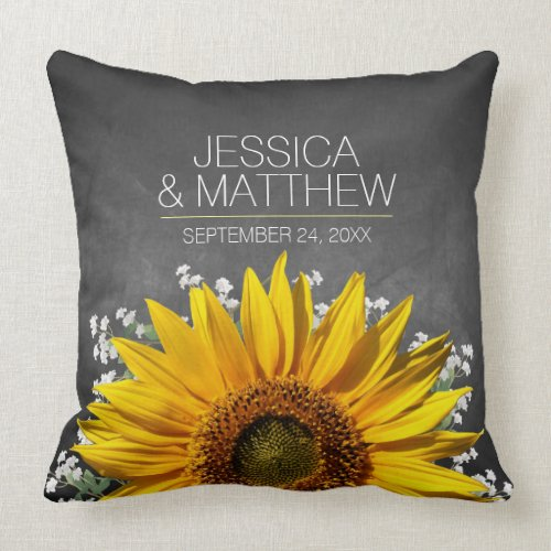 Sunflower Chalkboard Wedding Throw Pillow