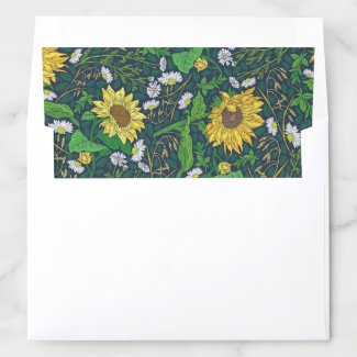 Sunflower Chamomile Garden Art Envelope Liner 5X7
