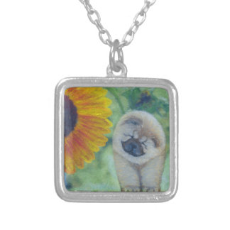 Sunflower Chow Chow Silver Plated Necklace