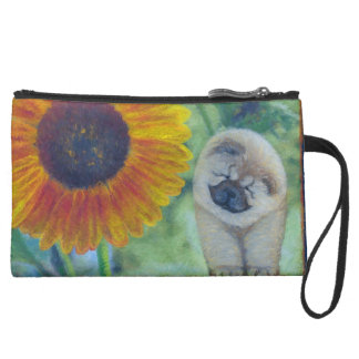Sunflower Chow Chow Suede Wristlet Wallet