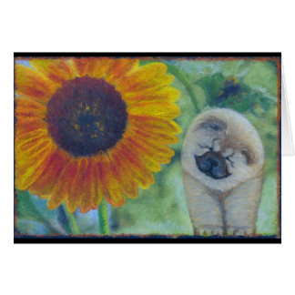 Sunflower Chow Puppy Greeting Card