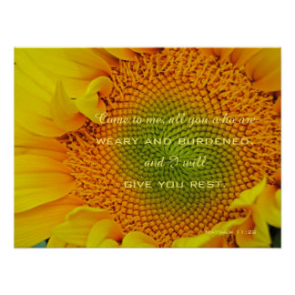 Sunflower Christian Scripture Photography Poster