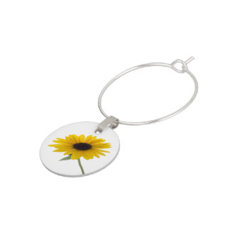 Sunflower Close Up Photograph Wine Glass Charm