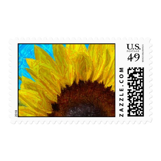 Sunflower close up stamp