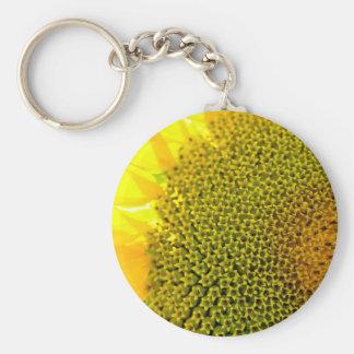Sunflower Closeup Photography bright yellow digita Keychain