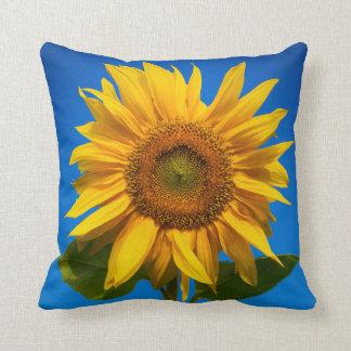 Sunflower closeup throw pillows