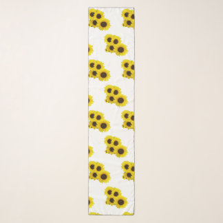 Sunflower Cluster on White Background Scarf