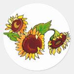 Sunflower Cluster Round Sticker
