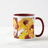 Sunflower Coffee Mug - Whimsical Sunflower Art Mug