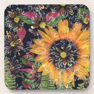Sunflower collage beverage coaster