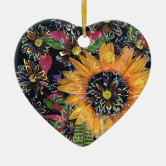 Sunflower collage christmas ornament
