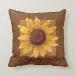 Sunflower Collage Floral Decor Pillow