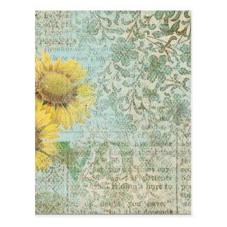 Sunflower Collage Postcard