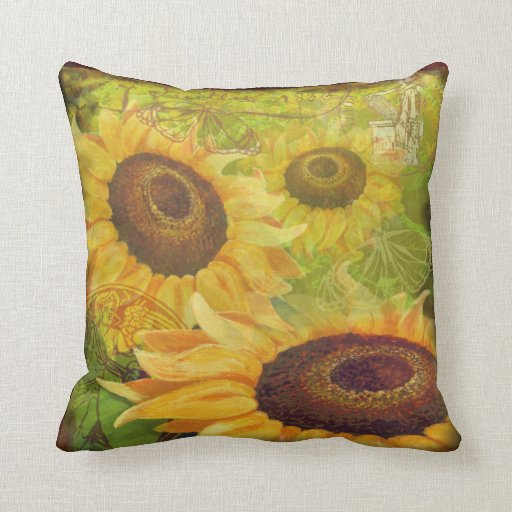 Decorative Pillows With Sunflowers : Sunflower Collage throw pillow Zazzle