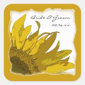 Sunflower Corner Wedding Envelope Seals