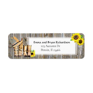 Sunflower Country and Western Return Address Label