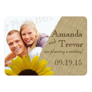 Sunflower Country Burlap Photo Save the Date Card