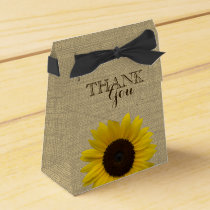Sunflower Country Burlap Print Favor Box