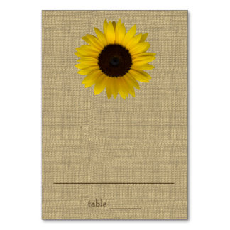 Sunflower Country Burlap Seating Card Table Cards