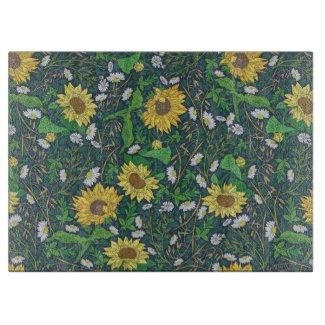 Sunflower Country Garden Print Glass Cutting Board