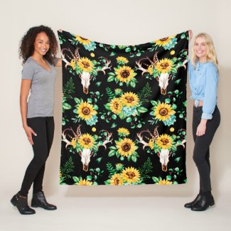 Sunflower Country In Black Fleece Blanket