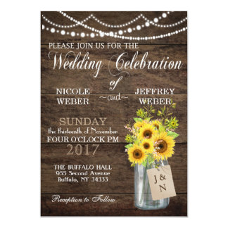 Sunflower Country Mason Jar Wedding Invitation