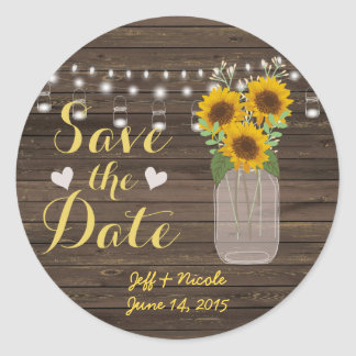 Sunflower Country Wood Mason Jar Save the Date Classic Round Sticker