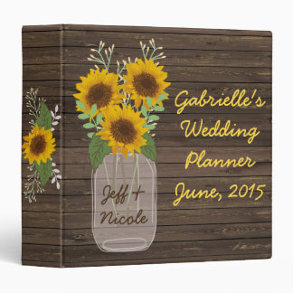 Sunflower Country Wood Mason Jar Wedding Binder