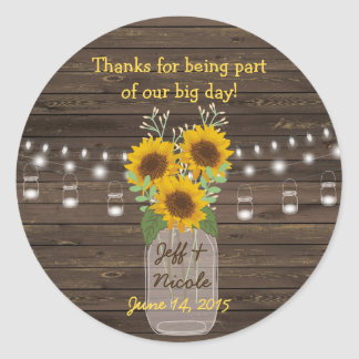 Sunflower Country Wood Mason Jar Wedding Classic Round Sticker