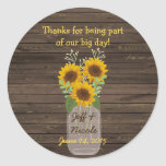 Sunflower Country Wood Mason Jar Wedding Classic Round Sticker