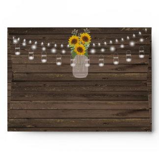 Sunflower Country Wood Mason Jar Wedding Envelope