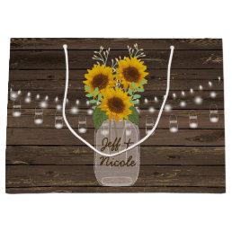 Sunflower Country Wood Mason Jar Wedding Large Gift Bag