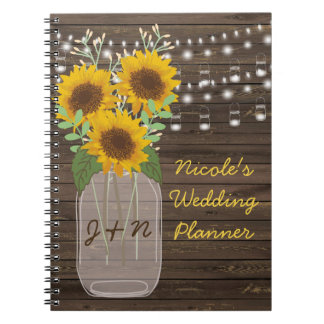 Sunflower Country Wood Mason Jar Wedding Notebook