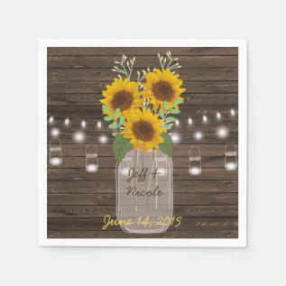 Sunflower Country Wood Mason Jar Wedding Paper Napkin at Zazzle