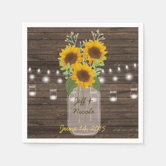 Sunflower Country Wood Mason Jar Wedding Paper Napkin