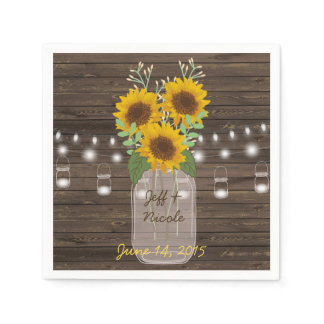 Sunflower Country Wood Mason Jar Wedding Paper Napkin