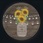 "Sunflower Country Wood Mason Jar Wedding Paper Plate<br><div class=""desc"">Beautiful custom wedding design featuring a country sunflower and mason jar. Perfect for that rustic wedding. You can customize and personalize it any way you wish.</div>"