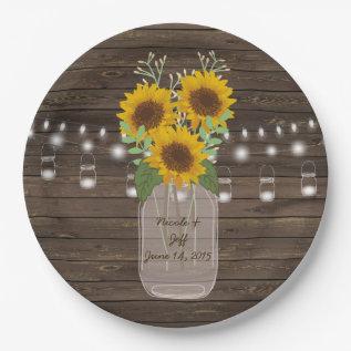 Sunflower Country Wood Mason Jar Wedding Paper Plate at Zazzle