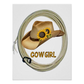 Sunflower Cowgirl Poster
