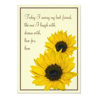 Sunflower Cream Yellow Brown Wedding Invitation