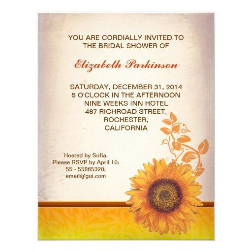 sunflower custom bridal shower invitation