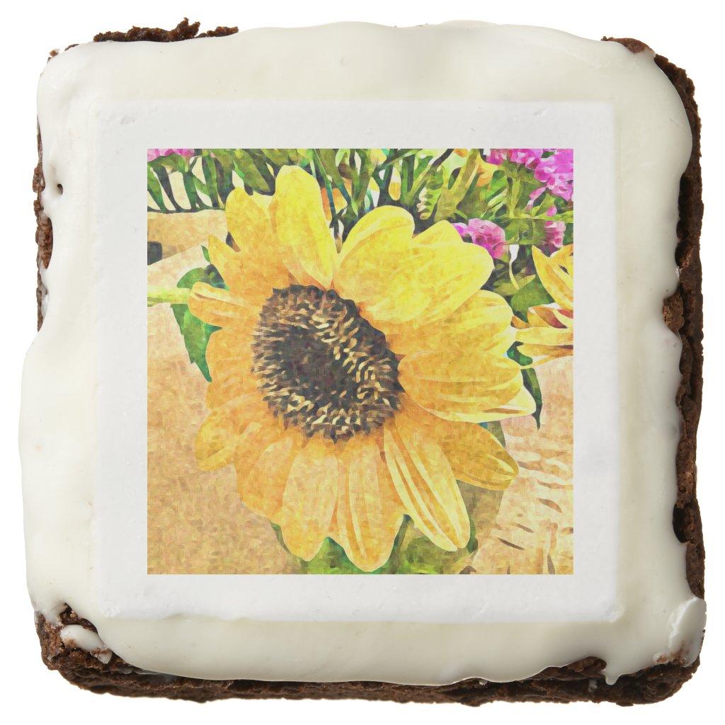 Sunflower custom chocolate brownies, yellow floral chocolate brownie