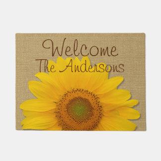 Sunflower Custom Country Burlap Doormat