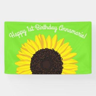 Sunflower Cute 1st Birthday Party Banner Decor