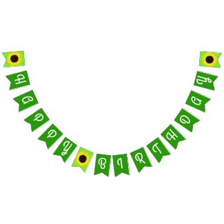 Sunflower Cute Happy 1st Birthday Bunting Banner