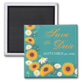 Sunflower Daisy Save The Date Wedding Announcement 2 Inch Square Magnet