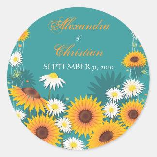 Sunflower Daisy Save The Date Wedding Announcement Classic Round Sticker