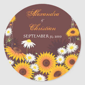 Sunflower Daisy Save The Date Wedding Announcement Classic Round Sticker