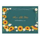 Sunflower Daisy Save the Date Wedding Announcement Postcards