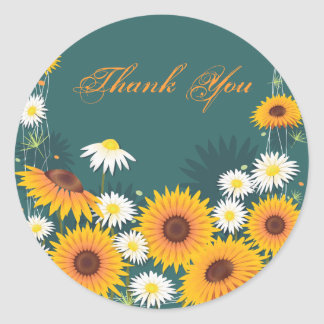 Sunflower Daisy Thank You Classic Round Sticker